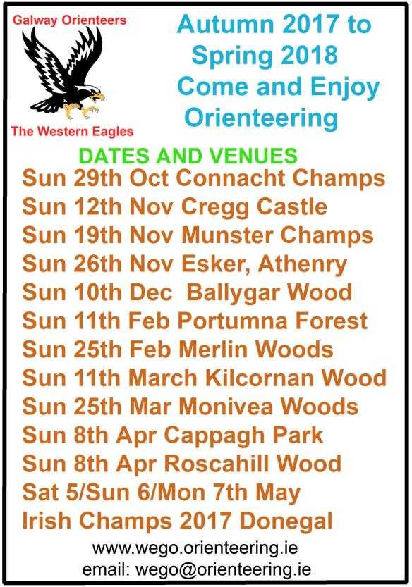 Autumn 2017-Spring 2018 Orienteering Events