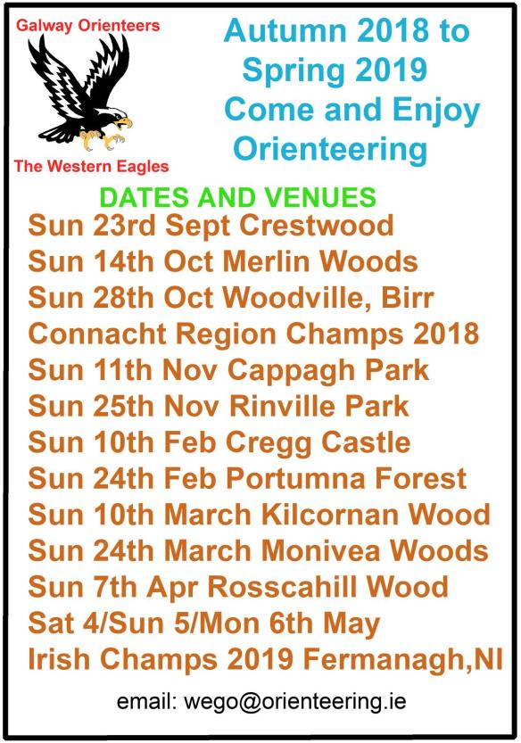 Autumn 2018-Spring 2019 Orienteering Events