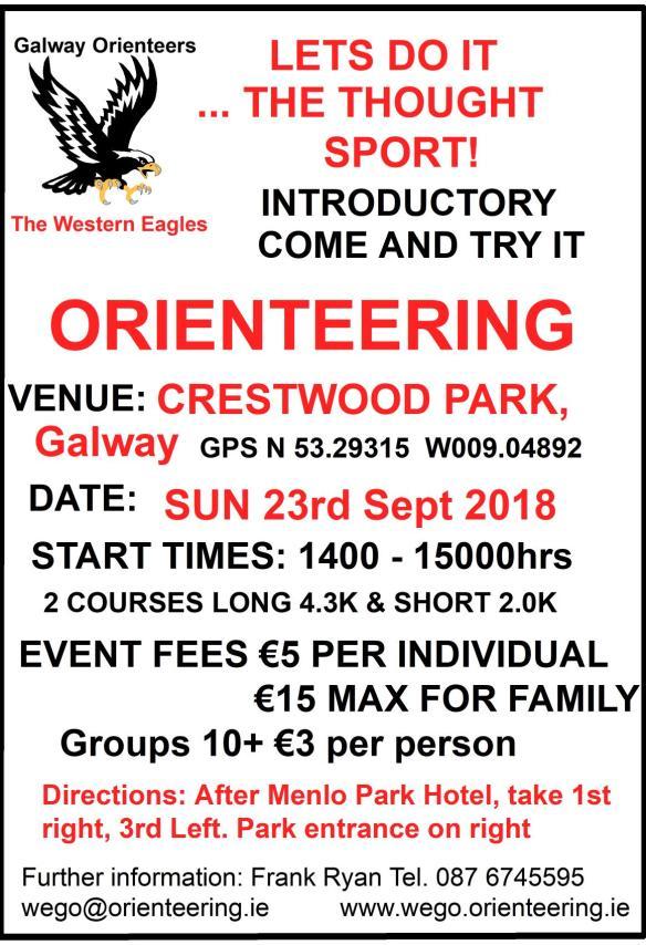 Crestwood Park O Event Notice Sun 23rd Sept 2018