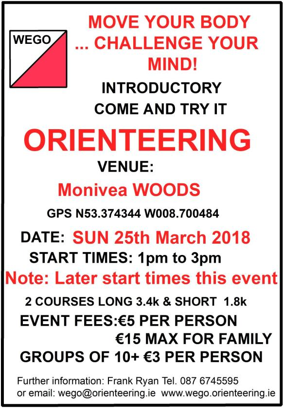 Monivea O Event Notice 25th March 2018