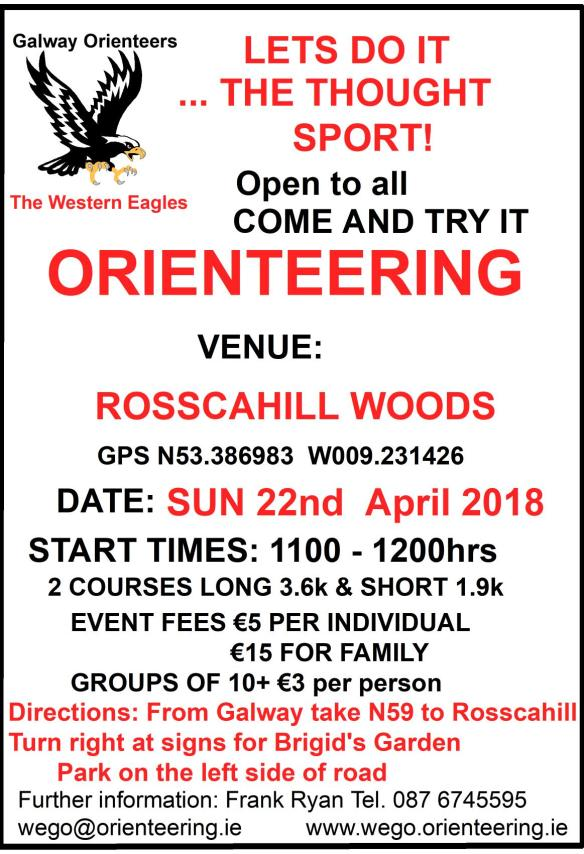 Rosscahill Wood O Notice Sun 22nd Apr 2018