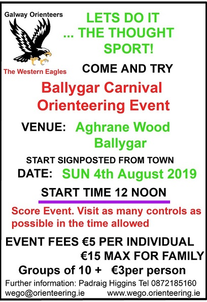 Ballygar Orienteering Notice Sun 4th Aug 2019